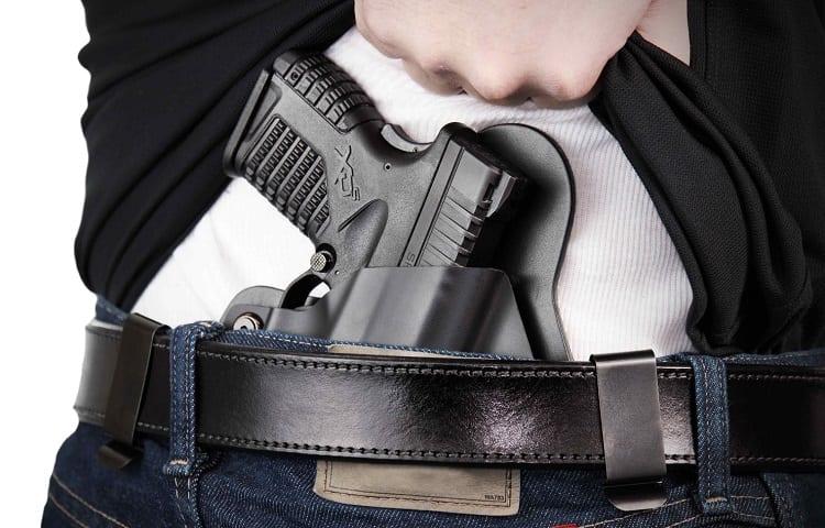pistol in belt holder