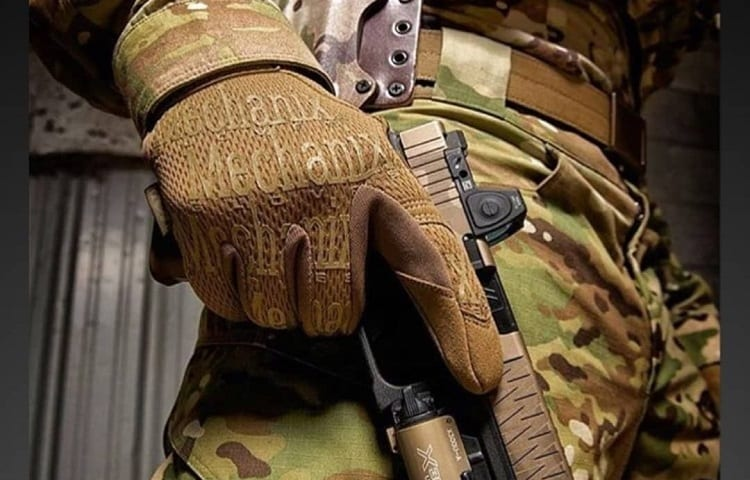 soldier with mechanix gloves