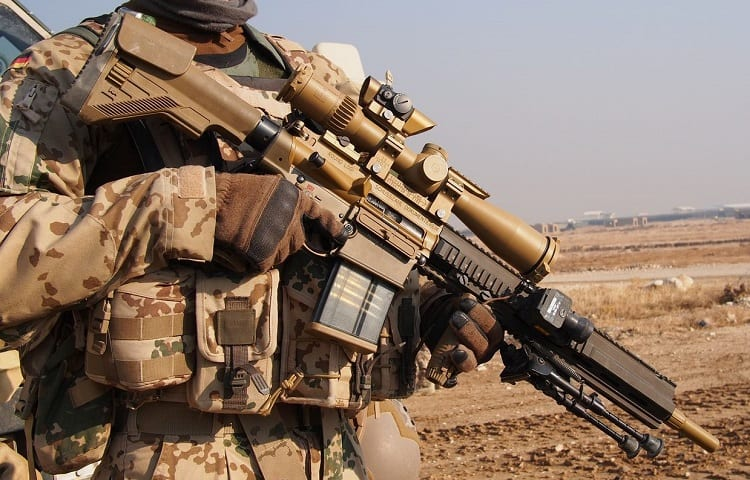 soldier with m110 rifle